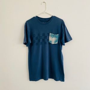 Quicksilver Blue Checkered Tee Medium